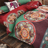 Bohemian Style 2 Polyester Duvet Cover Set, Floral Boho Design, Queen & King - Free Shipping