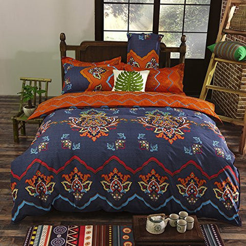 Bohemian Style 3 Polyester Duvet Cover Set, Floral Boho Design, Queen & King - Free Shipping