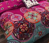 Bohemian Style Polyester Duvet Cover Set, Floral Boho Design, Queen & King - Free Shipping
