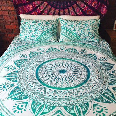 Bohemian Turquoise Light Blue Sun Flower Boho 3 PC King Bed Set & 2 Pillow Cases - Free Shipping