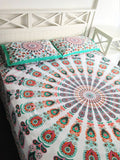 Bohemian Turquoise Peacock Mandala Boho 3 PC Bed Set Queen & 2 Pillow Cases - Free Shipping