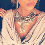 Bohemian Vintage Chunky Maxi Statement Necklace Silver Coin Choker Pendant - Free Shipping