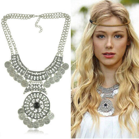 Bohemian Vintage Coin Gem Statement Necklace Collar Boho Style Choker Tassel - Free Shipping