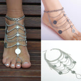 Bohemian Vintage Silver multilayer Coin Flower Charm Anklet - Free Shipping