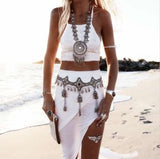 Bohemian Silver Boho Style Maxi Luxury Necklace and Pendant - Free Shipping