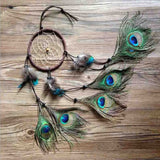 Boho Handmade Indian Peacock Dreamcatcher Wind Chimes Feather Pendant - Free Shipping