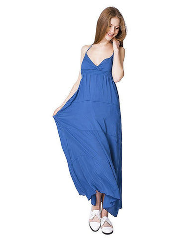 Boho Maxi Dress Women's Loose V-neck Sleeveless Blue Bohemian Maxi Dress - Free Shipping