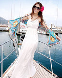 Boho Maxi Dress Women's Loose V-neck Sleeveless White Bohemian Maxi Dress - Free Shipping