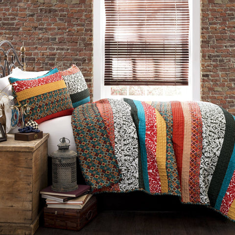 Boho Stripe 3-Piece Bedding Quilt Set Full/Queen/King Turquoise/Tangerine/Red - Free Shipping