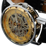 Classic Men's Luxury Gold Dial Skeleton Black Leather Army Wrist Watch - Free Shipping