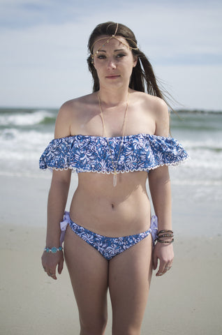 Women's Boho Blue Vintage Strapless Ruffle Top Bikini Set Bathing Suit