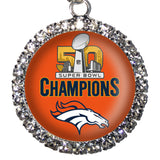 Denver Broncos NFL Super Bowl 50 CHAMPIONS Rhinestone Necklace Crystal Pendant - Free Shipping
