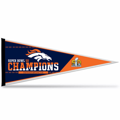 Denver Broncos Official NFL Super Bowl 50 Champions Pennant - Free Shipping