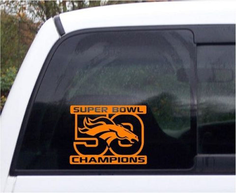 Denver Broncos Super Bowl 50 Champions Custom Football Vinyl Decal Orange - Free Shipping