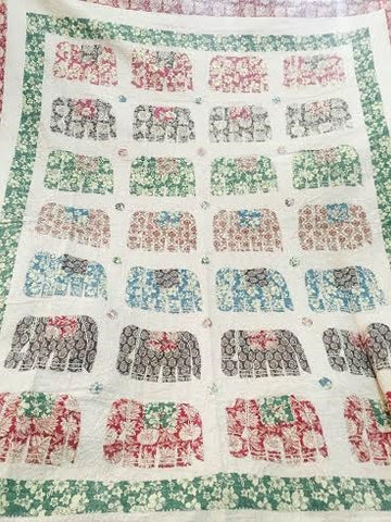 Flower Printed Elephant Bohemian Kantha Quilt Throw 3 PC Boho Chic Bedroom Bedset
