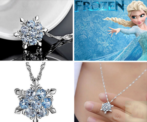 Free Frozen Inspired Lady Blue Crystal Flower Snowflake Necklace Pendant
