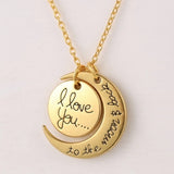I Love You To The Moon And Back Necklace Women Jewelry Silver - Free Shipping