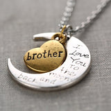 I Love You To The Moon And Back Necklace Vintage Fashion Women Jewelry silver and gold color