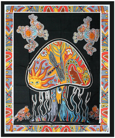 India Psychedelic Bohemian Mushroom Tapestry Boho Wall Hanging - Free Shipping