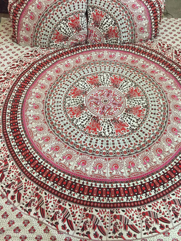 Original Elephant Mandala Bohemian Kantha Quilt 3 PC Boho Bed Set 2 Pillow Cases - Free Shipping