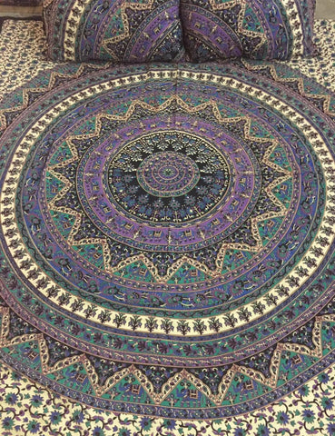 Original Star Mandala Bohemian Kantha Quilt 3 PC Boho Bed Set 2 Pillow Cases - Free Shipping