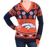 Women's Denver Broncos Klew  Big Logo V-Neck Sweater - Free Shipping Code