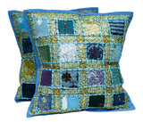 1 Boho Cover + 1 Free Bonus Light Blue Patchwork Bohemian Pillow Covers - Free Shipping