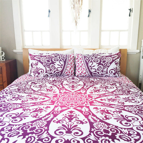 Majestic Purple Flower Bohemian Mandala Boho 3 PC Set Queen & 2 Pillow Cases - Free Shipping