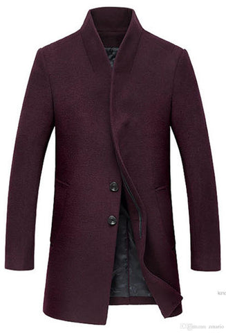 Men's 100% Wool French Front Slim Fit Jacket Long Business Coat Multi Colors