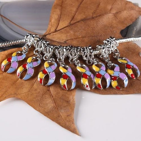 Multi Color Puzzle Ribbon European Style Autism AWARENESS Dangle For Bracelet - Free Shipping