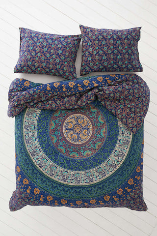 Mystic Blue Forest Bohemian Tapestry Elephant Mandala Indian Queen Size Duvet Cover