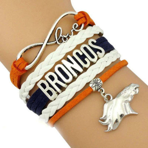 Denver Broncos NFL Leather Infinity Bracelet Orange & Blue Football Charm - Free Shipping