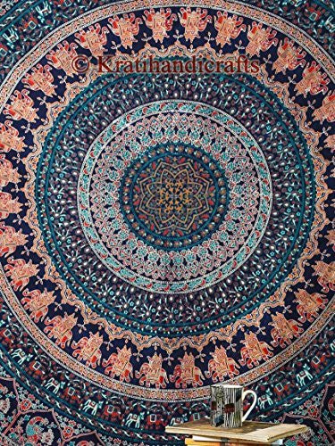 Navy Orange Forest Boho Mandala Bohemian Tapestry Indian