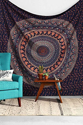 Navy Orange Forest Boho Mandala Bohemian Tapestry  Indian Dorm Decor Tapestry Wall Hanging