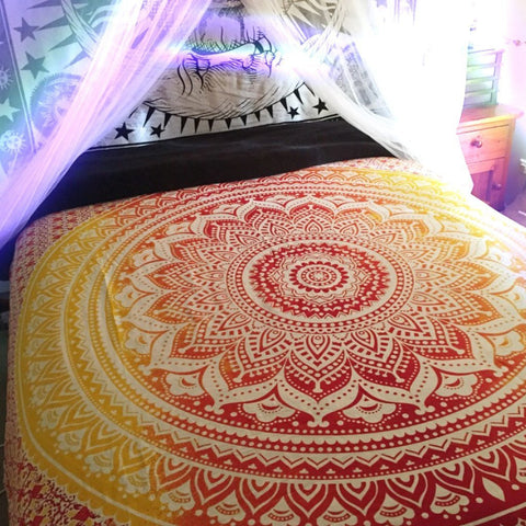 Ombre Mandala Bohemian Tapestry Queen Size Hippie Wall Hanging Home Decor - Free Shipping