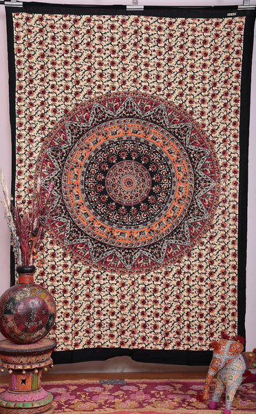 Orange White Elephants Boho Mandala Bohemian Tapestry Wall