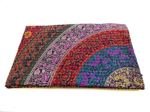 Mystic Floral Rainbow Mandala Bohemian Kantha Quilt 3 PC Boho Bed Set 2 Pillow Cases
