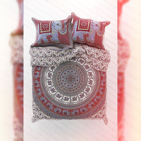 Red and Blue Bohemian Queen Size Duvet Cover Bedding 3 Pc Set 2 Pillow Cases - Free Shipping