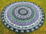 Round Bohemian Tapestry Purple Elephant Boho Mandala Yoga Home Decor- Free Shipping