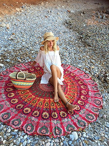 Round Bohemian Tapestry Red Ocean Boho Mandala Tapestry For Beach, Yoga, Home Decor- Free Shipping