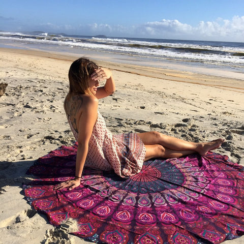 Round Bohemian Sea of Reds and Purple Peacock Boho Mandala Tapestry - Free Shipping
