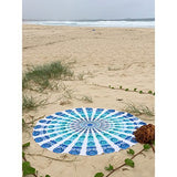 Round Armelia Bohemian White and Blue Peacock Boho Mandala Tapestry - Free Shipping