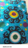 Sea Blue Flower Power Bohemian Kantha 3 PC Boho Chic BedSet 2 Pillow Cases - Free Shipping