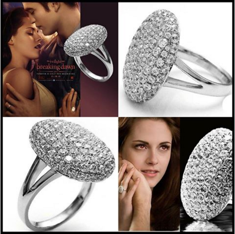 Twilight Movie Bella'S Engagement Ring Silver Plated Fashion Jewelry