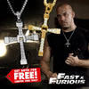 The Fast and the Furious Dominic Toretto Gold Plated Inspired Crystal Cross Pendant Necklace
