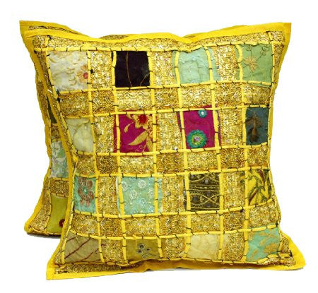 1 Boho Cover + 1 Free Bonus Yellow Embroidery Patchwork Bohemian Pillow Covers - Free Shipping