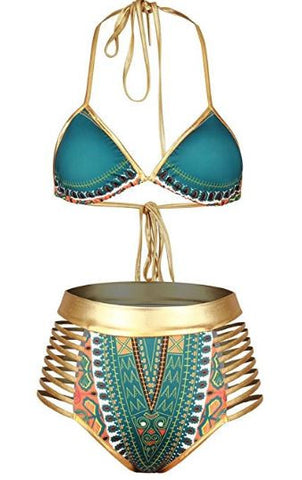 Women's African Tribal Metallic Cutout High Waist Bikini Sets Swimsuit (Multi)