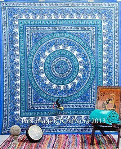 Blue Bohemian Mandala Tapestries Wall Hanging Hippy Tapestry Boho Decor Dorm - Free Shipping