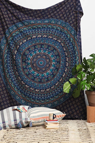 Multi-Color Copper  Blue Boho Mandala Bohemian Wall Hanging Tapestry - Free Shipping