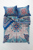 Mystic Rose Blue Flower Bohemian 3PC Mandala Duvet Cover & 2 Pillow Cases - Free Shipping